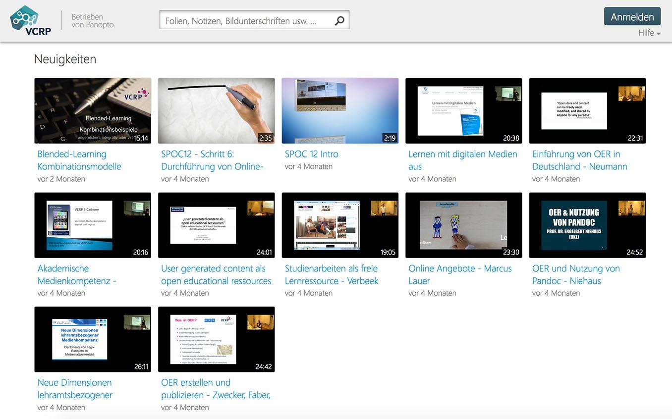 Screenshot der Benutzeroberfläche der Videoplattform Panopto.